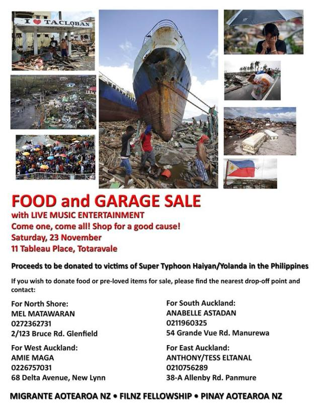 Fundraiser: Garage sale, yummy food and live music for Typhoon Haiyan victims